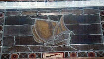 Ship on stained glass